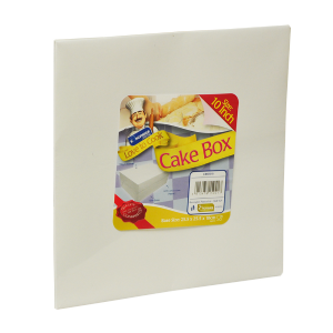 "White Card Cake Storage Box by Kingfisher Catering - 25cm 30cm 10"" 12"